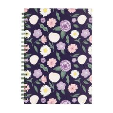 Uniti Blossom Hardcover Spiral Notebook Floral Navy A4