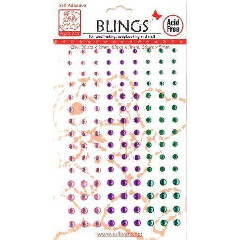 Blings Stick On Pink/Purple/Green