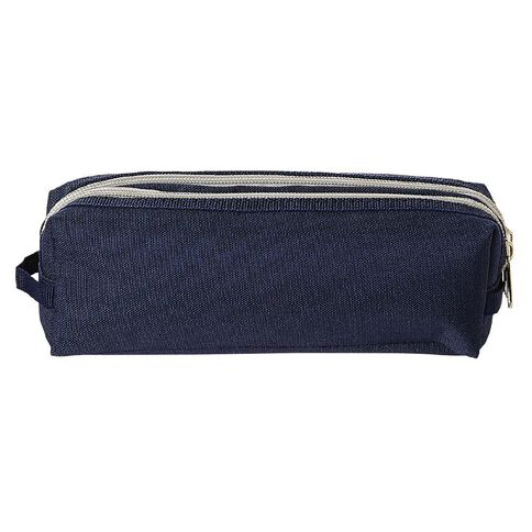 Warehouse Stationery Double Zip Pencil Case Navy