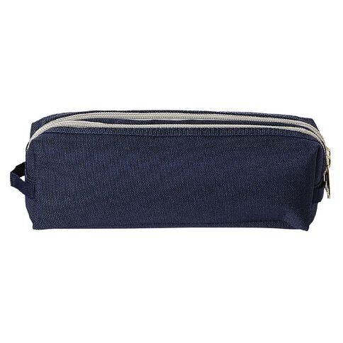 WS Double Zip Pencil Case Navy
