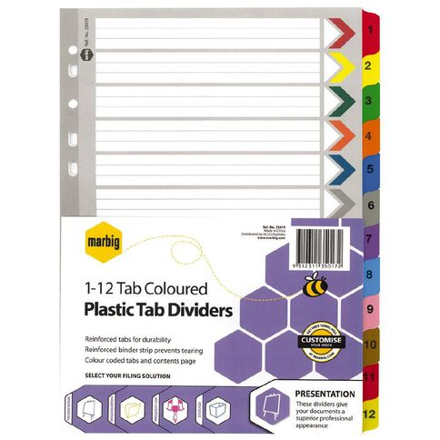 Marbig Dividers Plastic Reinforced Colour 1-12 Tab A4