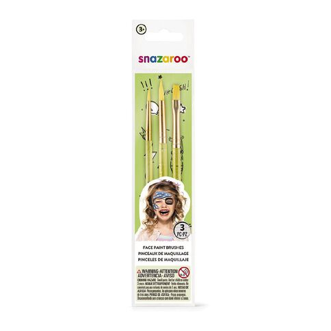 Snazaroo Face Painting Brush Set 3 Pack Multi-Coloured