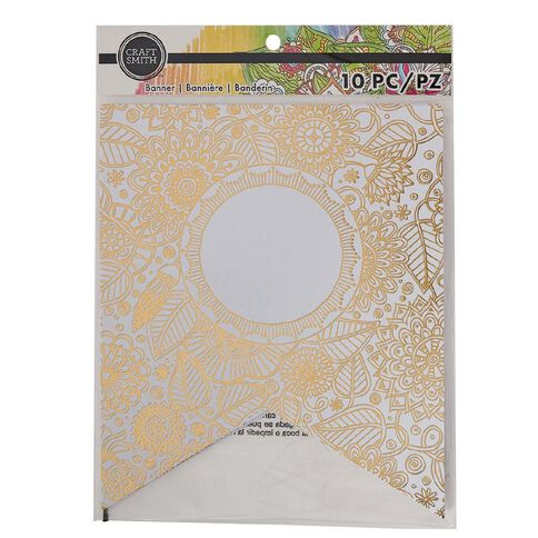 Craft Smith Colouring Banner Gilded Bloom Foil Gold White