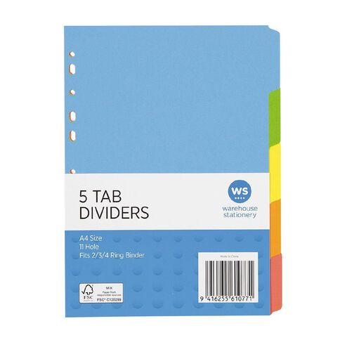 WS Dividers Cardboard 5 Tab A4