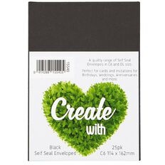 Create With C6 Envelopes 25 Pack Black
