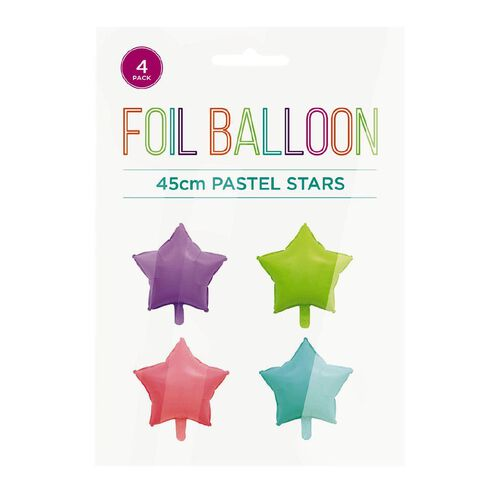 Pastel Foil Balloons Stars 45cm Multi-Coloured 4 Pack
