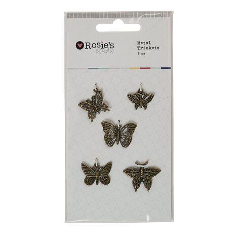 Rosie's Studio Metal Trinkets Butterflies 5 Piece