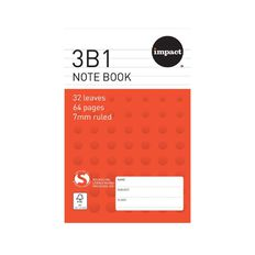Impact Note Book 3B1 7mm Ruled 32 Leaf Red