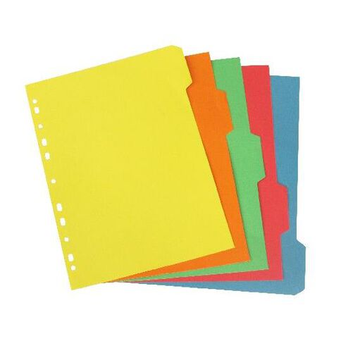 5 Tab Bright 5 Colour Dividers A4