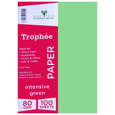 Trophee Paper 80gsm 100 Pack Intensive Green A4