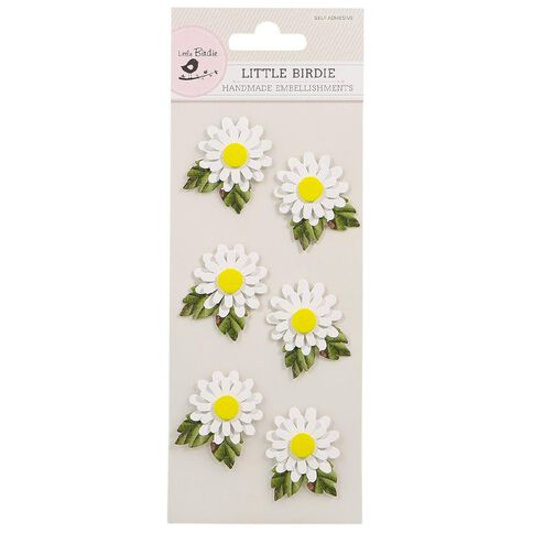 Little Birdie Embellishment Dainty Daisy White 6 Piece