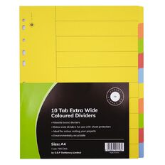 Office Supply Co 10 Tab Extra Wide Coloured Manilla Dividers
