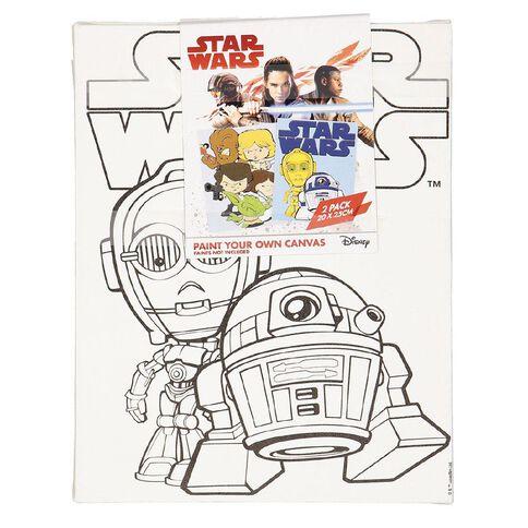 Star Wars Paint Your Own Canvas 20cm x 25cm 2 Pack