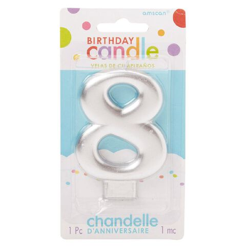 Candle Metallic Numeral #8 Silver