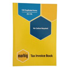 Marbig Invoice Book Duplicate 100 Leaf Yellow A5