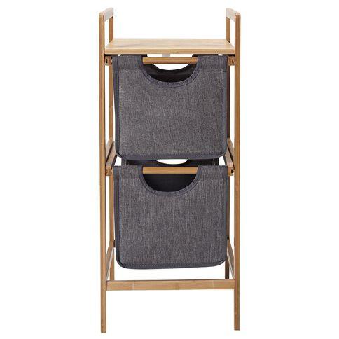 Living & Co Bamboo 2 Drawer Basket Shelf