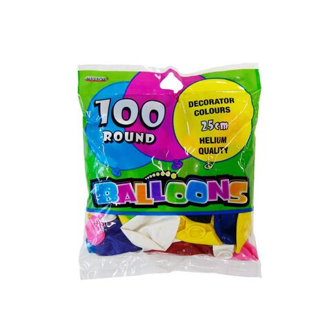 Meteor Balloons 100 Pack Assortment Plain 25cm