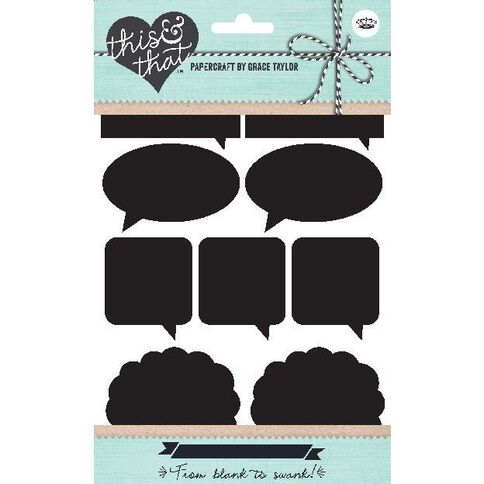 Grace Taylor This & That Stickers Blackboard 48 Pack Speech Black