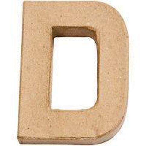 Paper Mache Alphabet Small Symbol D 10cm Brown