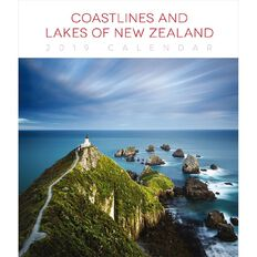 BrownTrout Calendar 2019 Coastlines & Lakes of New Zealand Deluxe