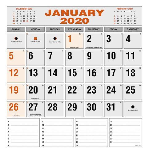 Calendar 2020 Commercial Wall