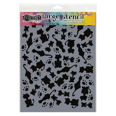Ranger Dylusions Stencil It's Raining Cats Large