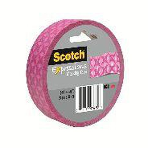 Scotch Masking Craft Tape 25mm x 18m Geometric Pink