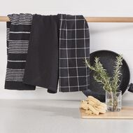 Living & Co Aria Tea Towel Set 3 Pack Black 40cm x 65cm
