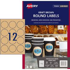 Avery Round Labels Kraft Brown 60mm Diameter 180 Labels