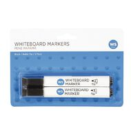 WS Whiteboard Markers Bullet 2 Pack Black