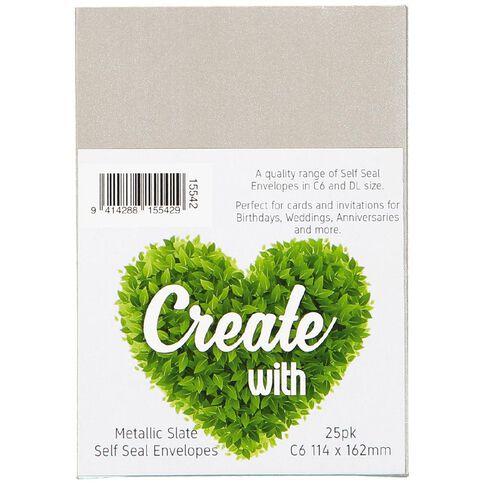 Create With C6 Envelopes 25 Pack Metallic Slate