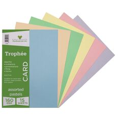 Trophee Card 160gsm 15 Pack Pastels Assorted A4