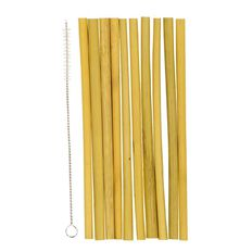 Party Inc Bamboo Straws with Cleaning Brush 20cm 10 Pack