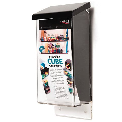 Deflecto Brochure Holder Outdoor DLE Portrait with Black Lid Clear