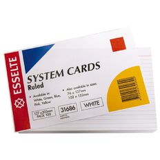 Esselte System Cards Lined Large 127mm x 203mm 100 Pack White