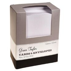 Grace Taylor Cards & Envelopes 50 Pack White