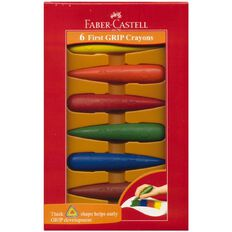 Faber-Castell Grip Crayons 6 Pack Multi-Coloured 6 Pack