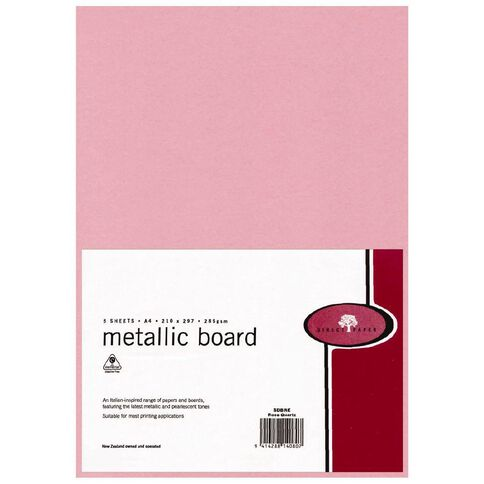 Direct Paper Metallic Board 285gsm 5 Pack Rose Quartz A4