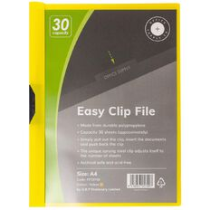 Office Supply Co Easy Clip File 30 Capacity Yellow A4