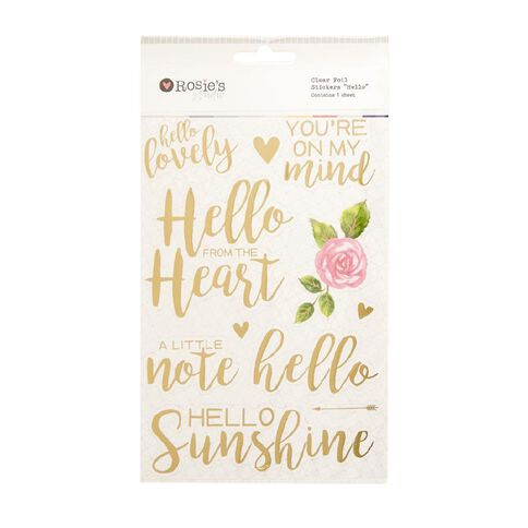 Rosie's Studio Clear Foil Stickers Hello