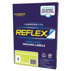 Reflex Mailing Labels 1 Per Sheet 20 Pack A4