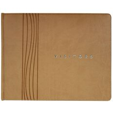 Eurobrands Visitor Book Faux Leather Sand