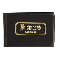 Business Card Holder Mini Deluxe PP Pockets For 32 Cards Black