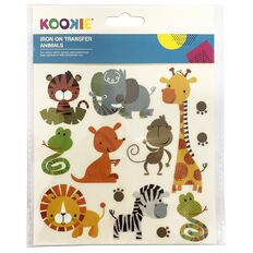 Kookie Iron on Transfer Stickers Zoo 1 Sheet