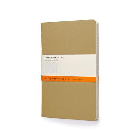 Moleskine Cahier Large Notebook Ruled Kraft 3 Pack
