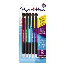 Paper Mate Write Bros Comfort 0.7mm Mechanical Pencil Black 5 Pack