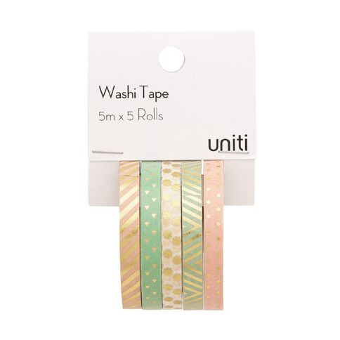 Uniti Washi Tape Mutli Bright's 5 Pack