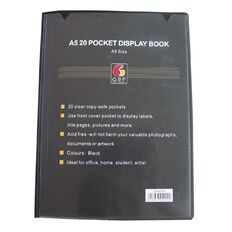 GBP Stationery Display Book Front Insert Cover 20 Pocket Black A5