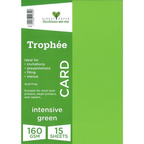 Trophee Card 160gsm 15 Pack Intensive Green A4
