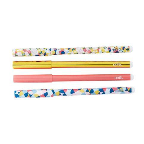 Uniti Geo Pens 4 Pack Multi-Coloured